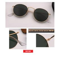 klasik güneş gözlüğü toptan satış-Yeni Retro klasik metal çember pembe gafas 3447 altın çerçeve yansıtıcı lens kadınlar moda 50mm UV400 lens yansıtılmış yuvarlak tarzı güneş gözlüğü