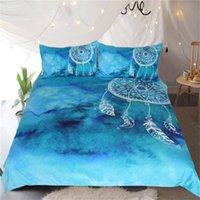 ingrosso lenzuola di lusso cinesi-Acquerello Dreamcatcher Bedding Set Re Blu Biancheria per i bambini per adulti di lusso di stile della trapunta copertura cinese di 3 pezzi