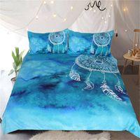 conjuntos de cama chinese de luxo venda por atacado-Watercolor Dreamcatcher cama Set Rei Azul Roupa de cama para adultos Crianças Luxo Estilo Chinês Quilt Tampa 3 Pcs