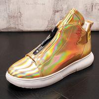 zapatos de charol hip hop al por mayor-High Top Zapatillas de deporte de moda para hombres Zapatos de charol dorado plateado Brillante Hip Hop Botas de cuero ocasionales Hombres Mocasines
