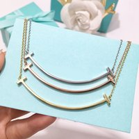 Wholesale matches necklace for sale - Group buy S925 Luxurious quality large size smile necklace for women wedding jewelry gift and night club match necklace PS6023