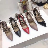 sapatos de dança cm talão venda por atacado-Tornozelo correias sandálias mulheres saltos altos 8.5 cm rebites de couro genuíno meninas sexy sapatos pontiagudos bombas Sapatos de casamento de Dança com caixa muito cor