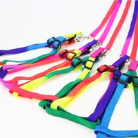 colliers arc-en-animal achat en gros de-Nylon Rainbow Pet Laisses avec collier / harnais Ensemble chien Chien Chat Laisses Leads 10sets / lot gros