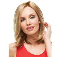 ingrosso parrucca bianca media-2019 moda personalizzata OEM uso quotidiano lunghe parrucche taglio di capelli medio dritto biondo colore oro per le donne bianche