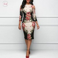 Wholesale rose print clothes resale online - Rose Print Dress Elegant Hollow Out Shoulder Dresses Summer Sexy Party Plus Size White Vestidos De Casual Dresses Designer Clothes