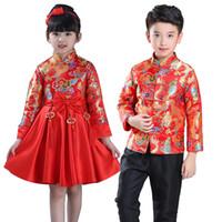 trajes china venda por atacado-Crianças China Vestido De Dinastia Tang Chinês Tradicional Vestuário Jaqueta Traje Calças Para Kid Boy Roupas Menina