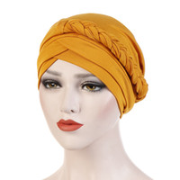 Wholesale braiding hair singles for sale - Group buy Muslim Hijab Single Braid Cross Silky Turban Hats for Women Cancer Chemotherapy Chemo Beanies Cap Headwrap Headwear Hair Accessories