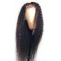 malezyen dantelli ön toptan satış-Kinky Kıvırcık Malezya İnsan Saç Ipek Taban Peruk Dantel Ön Peruk Kıvırcık 5 * 4.5 '' Ipek Üst Tutkalsız Tam Dantel Peruk