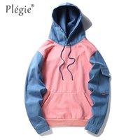 ingrosso coreano hoodie blu-Plegie Coreano Harajuku Felpa con cappuccio in pile Rosa blu Patchwork Uomo Hip Hop Casual Pullover Felpe Streetwear 2019 Felpa con cappuccio