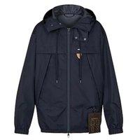 casacos de couro venda por atacado-Revestimentos encapuçados Azul Escuro Tag de couro genuíno com cordão Zipper Hoodie bolso homens casal mulheres Outdoor Rua Casual Brasão KJ22