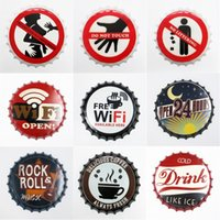 Wholesale bottle shop for sale - Group buy Retro Beer Bottle Cap Decoration Iron Store Bar Coffee Shop Wall Painting Decoration Free WIFI Open Hours Bottle Cap Tray