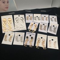 Wholesale earring pearl letter resale online - 2019 Brand Classic Crystal Letter Stud Earrings Fashion Jewelry For Women Statement Imitation Pearl Earrings Jewelry