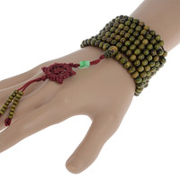 holz mala armband großhandel-Heiße natürliche Sandelholz buddhistische Armbänder Buddha Meditation 216 Perlen Holz Gebetskette Mala Armband Halskette Frauen Männer Schmuck