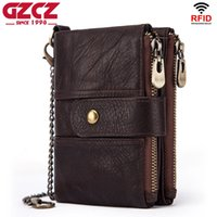 Wholesale elegant phone holder for sale – best Men s RFID Blocking Genuine Leather Trifold Zip around Wallet with Double Zipper Chain Buckle Elegant Gift
