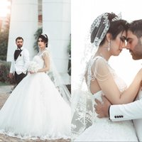 Wholesale dubai sexy wedding dresses resale online - Sparkly Bead Lace Ball Gown Wedding Dresses Sleeveless Sexy Dubai Arabic Princess Puffy Skirt Bridal Gown