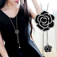 ingrosso collana della ragazza del fiore del pendente nero-Collane con ciondolo a forma di fiore in zircone con catena a forma di fiore in cristallo rosa nero con collana lunga per ragazze