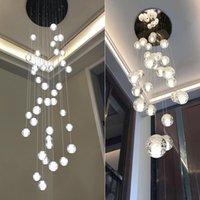 merdiven tavan toptan satış-LED Kristal Cam Top Kolye Meteor Yağmur Tavan Işık Meteorik Duş Merdiven Çubuğu Droplight Avize Aydınlatma AC110-240V led ışıkları
