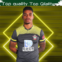 черные желтые футбольные майки оптовых-The Saints Away Black Yellow Soccer Jerseys 2019/20 #16 WARD-PROWSE #7 длинные футбольные рубашки 2019 #22 REDMOND футбольная форма продажи