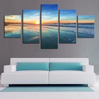 pintura al óleo de la onda al por mayor-Sunset Surf Wave Beach Paisaje marino, 5 Piezas Impresiones de la lona Arte de la pared Pintura al óleo Decoración para el hogar (sin marco / enmarcado)
