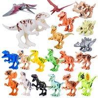 oyuncakları bir araya getirmek toptan satış-20Pcs / Set küçük boyutlu Dinozor yapı taşları Jura uyumlu parçacıklar çocuk DIY eğitici yapı taşları oyuncaklar monte
