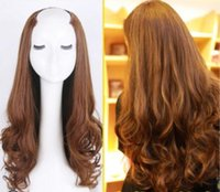 Wholesale u shaped hair wigs resale online - Best selling Ladies Fashion Long Curly Hair Wigs Large Save Fluffy Natural U shaped Half Heads Long Hair Invisible Seamless Chemical Fiber