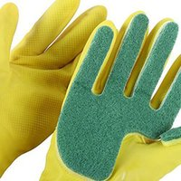 Wholesale kitchen scrubs resale online - Emulsion Scrubbing Gloves Compound Sponge Cleaning Dishwashing