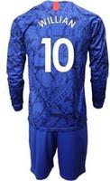 camisas personalizadas de futebol manga longa venda por atacado-Manga longa Personalizado 19-20 homens em casa 10 Willian 7 Kanté 22 PULÍSICA Camisa de Futebol Com Conjuntos Curtos, 9 conjuntos de uniforme de futebol Abraham 8 BAKlEY
