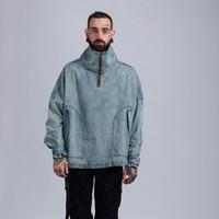 xxl yüksek yaka ceketi erkek toptan satış-19ss yeni erkek tasarımcı yüksek yaka yıkama denim ceket ceket ince gevşek omuz retro ceket erkek m-xxl