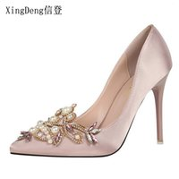 Wholesale pearl pink satin shoes online - Dress Xingdeng Women Sexy Rhinestone Pearl Wedding Party Sexy High Heels Pumps Shoes Lady Satin Design Dress Stilettos Shoes