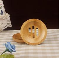 ingrosso piatto per sapone-Portasapone di secchezza del supporto di bambù naturale rotondo del sapone del supporto di mini sapone rotondo creativo del supporto libero di trasporto