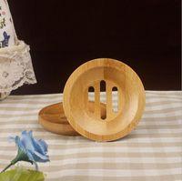 jabón de plato libre al por mayor-Ronda mini plato de jabón creativo de Protección Ambiental de jabón de bambú natural titular de secado sostenedor del jabón de envío gratuito