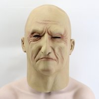 Wholesale full face disguise mask resale online - Hot Sale New Realistic Latex Old Man Mask Male Disguise Halloween Fancy Dress Head Rubber Adult Party Masks Masquerade Cosplay Props