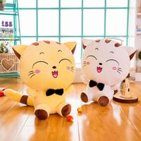 almohadas de gato grande al por mayor-2019 recién llegado 20 cm cara grande gato muñeca de peluche de juguete lindo niños almohada muñecas regalo del día de San Valentín al por mayor