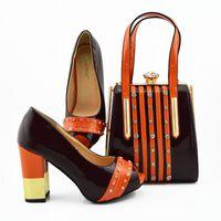 zapatos a juego bolsas marrón al por mayor-2019 últimos zapatos africanos de color marrón con bolsos a juego para la boda estilo italiano del verano zapatos de boda y conjunto de bolsos