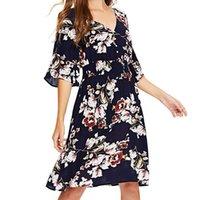 vestidos casuais femininos venda por atacado-Primavera verão das mulheres dress casual impresso fivela v neck dress feminino feminino vestidos vestidos
