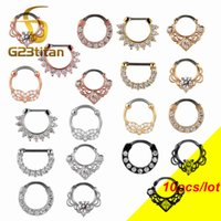 Wholesale titanium nose hoop jewelry for sale - Group buy 10pcs G Crystal Nose Ring G23 Titanium Septum Clicker Nose Hoops Piercing Body Jewelry Ear Helix Piercing Cartilage