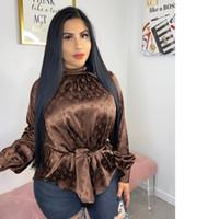 ingrosso shirt t-shirt-Moda camicetta delle donne sexy della stampa della lettera semplice tasto di collare Giù manica lunga allentata maglietta supera il trasporto libero Abbigliamento 769