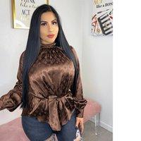 düğme t gömlekleri toptan satış-Moda Kadınlar Bluz Seksi mektup Baskı Basit Düğme Aşağı Uzun Kollu Yaka Gevşek Tişört Giyim ücretsiz nakliye 769 Tops