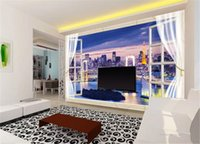 Wholesale night view painting resale online - 3D Wallpaper Window D City Beautiful Night View Living Room TV Background Bound Wall Painting Wallpaper