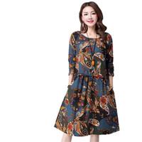 xl pamuklu analık elbiseleri toptan satış-Toptan Satış - Güzel Bahar Sonbahar Stil Uzun Kollu Baskı Gündelik Elbise Kadın Vintage Plus Size Annelik Uzun Pamuk Keten Elbise Vestidos Robe