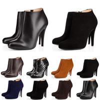 yüksek topuk moda kadın çizmeler toptan satış-christian louboutin Kutu ile moda lüks tasarımcı kadın çizmeler yüksek topuklu 8 cm 10 cm 12 cm siyah kırmızı kestane donanma dipleri ayakkabı deri kış boot