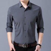 camisas de colar alto fino venda por atacado-Camisas dos homens de Manga Comprida Casual Slim Fit Camisas de Vestido de Alta Qualidade Coreano Masculino Sólido Turn-down Collar Camisa Escritório de Negócios