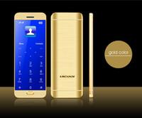mejores precios de teléfonos inteligentes al por mayor-Los teléfonos celulares originales Ulcool V26 Mini Bluetooth Marcador Música tecla táctil de pantalla dual sim tarjeta de crédito del teléfono móvil Espejos Cuerpo + Funda + Protector