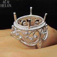 montajes de anillo de boda de la vendimia al por mayor-Plata de ley 925 blanco color del vintage de joyería fina único compromiso de la boda del anillo oval 15x19mm semi anillo de montaje del mayorista