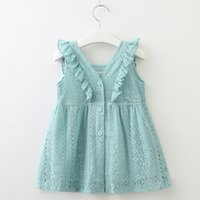 Wholesale Baby Girls Dress New Kids Fashion Lace V Neck Buttons Petal Sleeve Cute Princess Dress Summer Children Party Dresses Colors