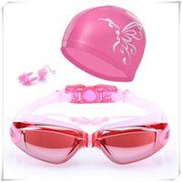 Wholesale fog accessory online - Swimming Accessories HD Waterproof Anti Fog Swimming Goggles Swim Cap Set UV Protection Anti Shatter Lenses