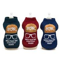 strickmuster hunde großhandel-Schreiben Knitting Haustiere Hunde-Bekleidung Brille Druck Pullover Frühling und Herbst Eindickung Neuer Muster 9yp UU