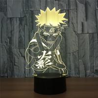 nachtlichtfarben großhandel-3D LED Nachtlicht Anime Naruto Sasuke Action Figure 7 Farben Touch Optische Täuschung Tischlampe Dekoration Modell