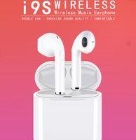 siyah cep telefonu bluetooth toptan satış-TWS i9S Manyetik Kablosuz Bluetooth Mini Kulaklık Stereo Surround Kulaklık Android iPhone Için Spor Kulaklıklar Kulaklıklar