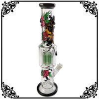 Wholesale chinese bongs resale online - glass bong dab rig percolator Chinese bong green tree arm filter with glass beaker bongs